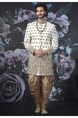Cream Colour Art Banarasi Silk Sherwani.