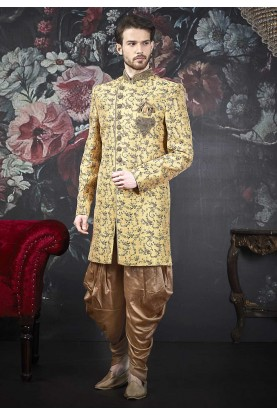 Golden Colour Brocade Silk Men's Indowestern.