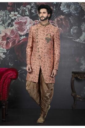 Party Wear Men's Indowestern Peach Colour.