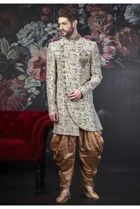 Cream Colour Designer Indowestern For Men.