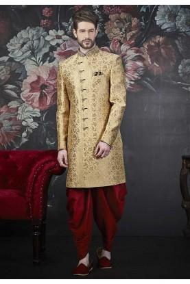 Golden Colour Indian Wedding Indowestern.