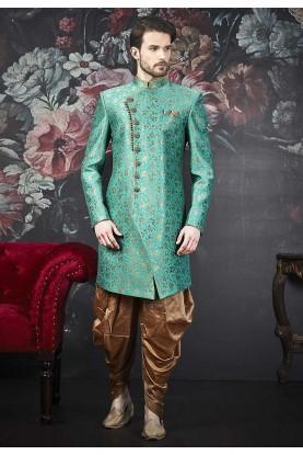 Green Colour Brocade Silk Men's Indo.