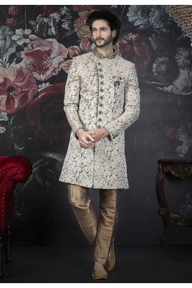 Cream Colour Jacquard,Brocade Silk Men's Indowestern.