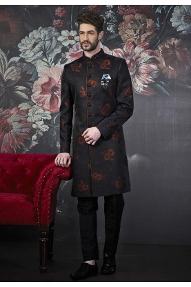 Fabulous Black,Blue Colour Designer Men's Indowestern.