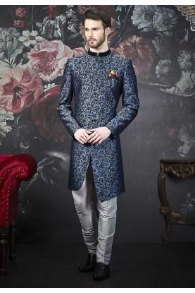 Blue,Black Colour Men's Indowestern.