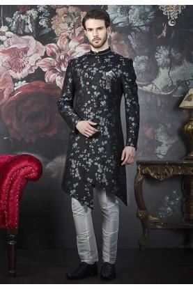 Party Wear Indowestern Grey,Black Colour.