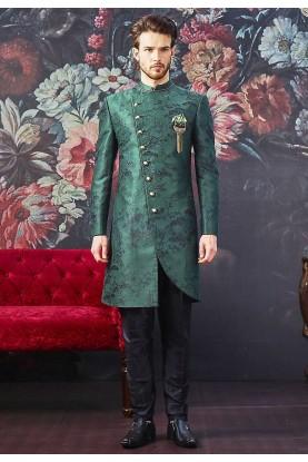 Green Colour Designer Men's Indowestern.