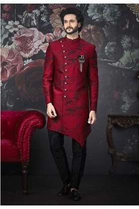 Maroon Colour Indian Designer Men's Indowestern.