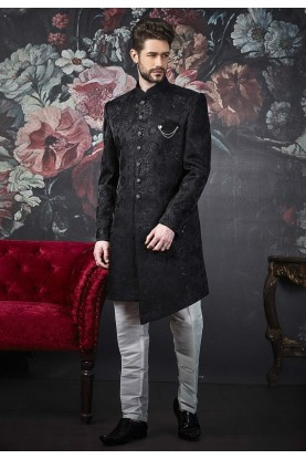 Men's Designer Indowestern Black Colour.
