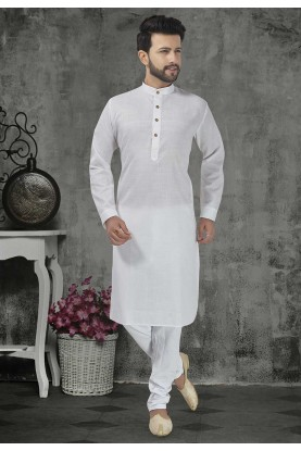 White Colour Plain Kurta Pajama.