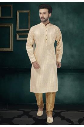 Cream Colour Cotton Kurta Pajama.
