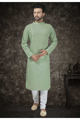 Green Colour Mens Kurta Pajama.
