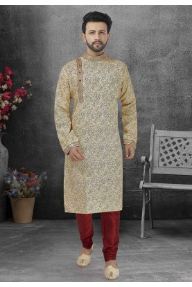 Printed Kurta Pajama Beige Colour.