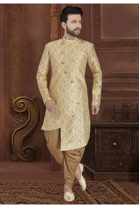 Party Wear Indowestern Golden Colour.