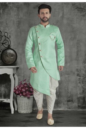 Green Colour Silk Designer Indowestern.