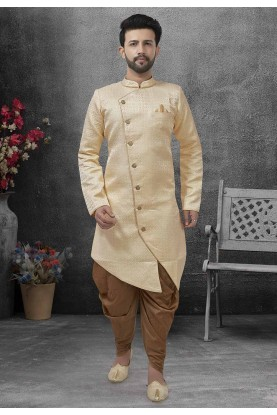Men's Designer Indowestern Beige Colour.