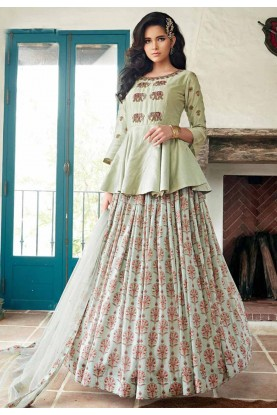 Pista Green Colour Readymade Gown.