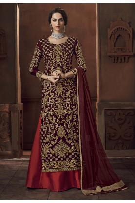 Maroon Colour Indian Designer Salwar Suit.