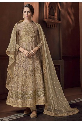 Fabulous Beige Colour Anarkali Salwar Suit.