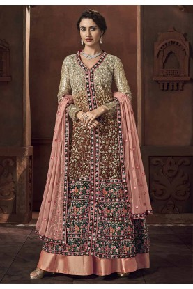 Multi Colour Net Salwar Kameez.