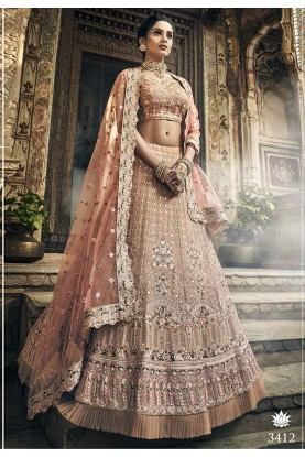Rose Gold Colour Designer Wedding Lehenga.