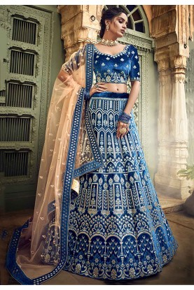 Blue Colour Velvet Lehenga Choli.