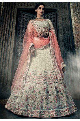 Off White Colour Georgette Lehenga Choli.