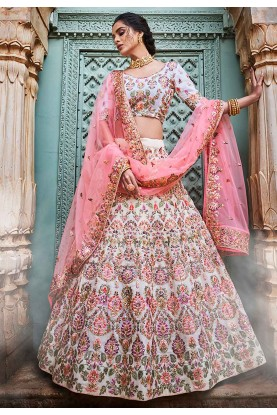 Designer Lehenga Choli Off White Colour.