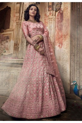 Salmon Pink Colour Satin Lehenga Choli.