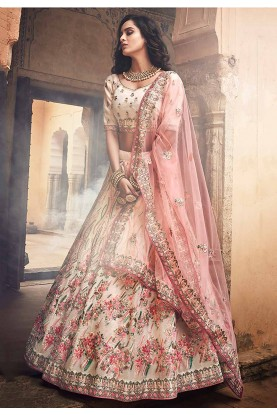 Off White Colour Bridal Lehenga Choli.