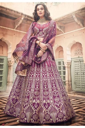 Wine Colour Art Silk Lehenga Choli.
