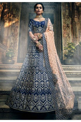 Navy Blue Colour Party Wear Lehenga Choli.