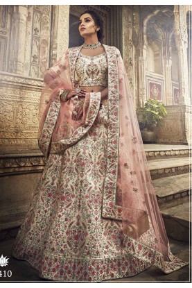 White Colour Indian Wedding Lehenga Choli.