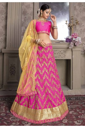 Rani Pink Colour Wedding Lehenga Choli.