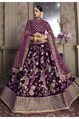 Purple Colour Engagement Lehenga Choli.