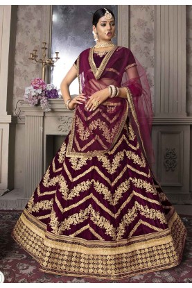Wine Colour Indian Designer Lehenga Choli.