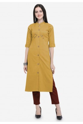 Beige Colour Plain Kurti.
