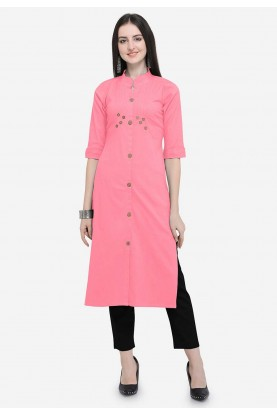 Pink Colour Readymade Kurti.