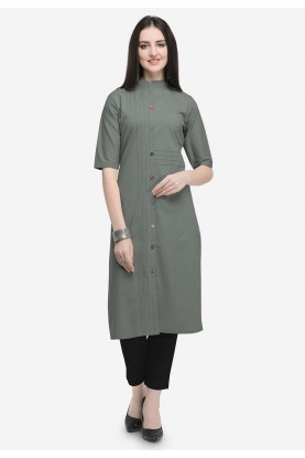 Grey Colour Cotton Kurti.