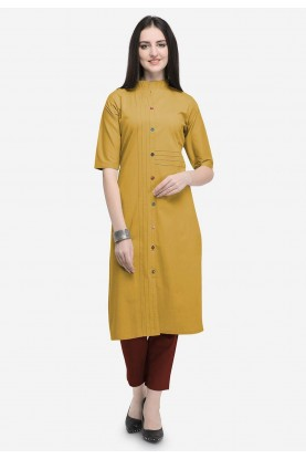 Beige Colour Cotton Casual Kurti.