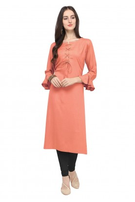Cotton Kurti Peach Colour.