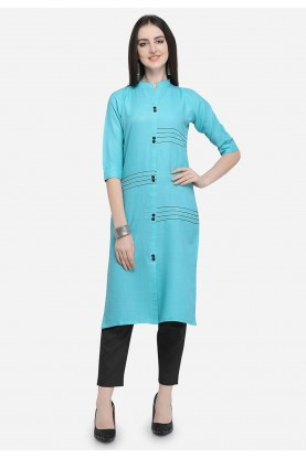 Sky Blue Colour Casual Kurti.