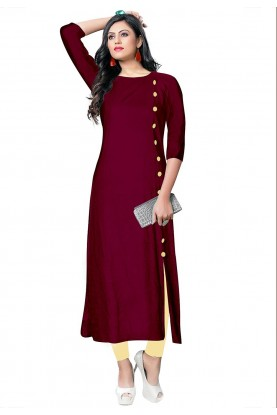 Party Wear Kurti Maroon Colour.
