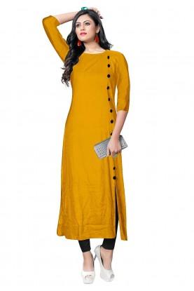 Yellow Colour Readymade Kurti.