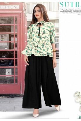 Cream Colour Cotton Designer Kurti.