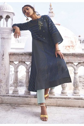 Blue Colour Designer Long Kurti.