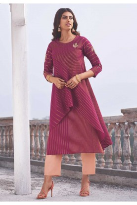 Designer Indian Kurti Rani Pink Colour.