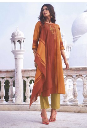 Orange Colour Stylish Designer Kurti.