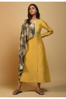 Yellow Colour Silk Party Wear Kurti.