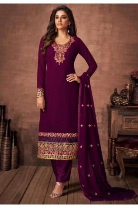 Purple Colour Party Wear Salwar Suit.